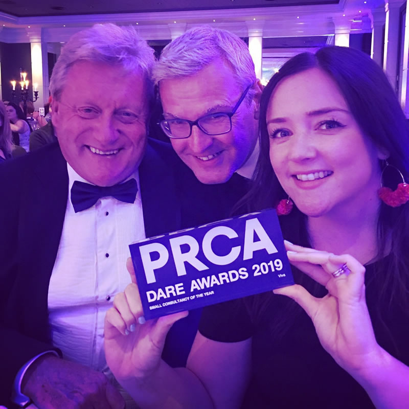Viva PR - Alan Simpson, Tony Garner and Hannah Monaghan from Viva with their award